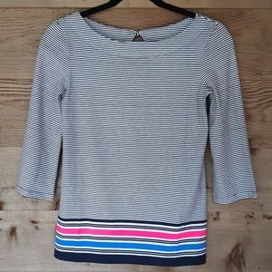 Lilly Pulitzer Waverly Navy Striped Top